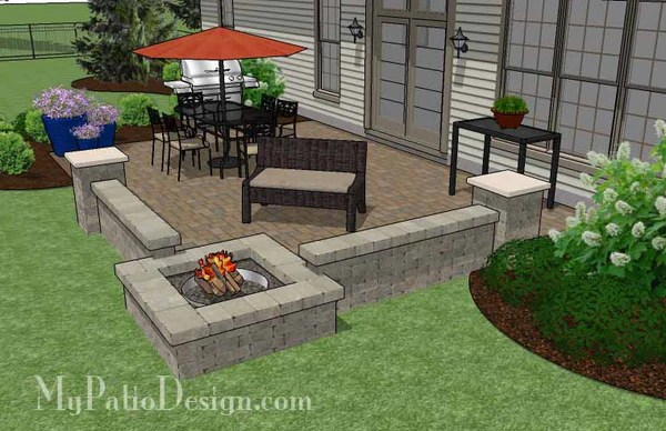 Large Rectangular Paver Patio Design with Fire Pit ... on Square Concrete Patio Ideas  id=25617