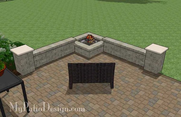 Large Rectangular Paver Patio Design with Fire Pit ... on Rectangle Patio Ideas id=15891
