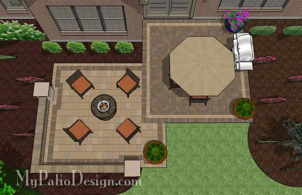490 sq. ft. - Overlapping Rectangle Patio Design with Seat ... on Rectangle Patio Ideas  id=71936