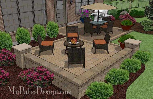 490 sq. ft. - Overlapping Rectangle Patio Design with Seat ... on Rectangle Patio Ideas id=37539