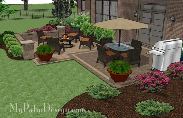 490 sq. ft. - Overlapping Rectangle Patio Design with Seat ... on Rectangle Patio Ideas id=27001