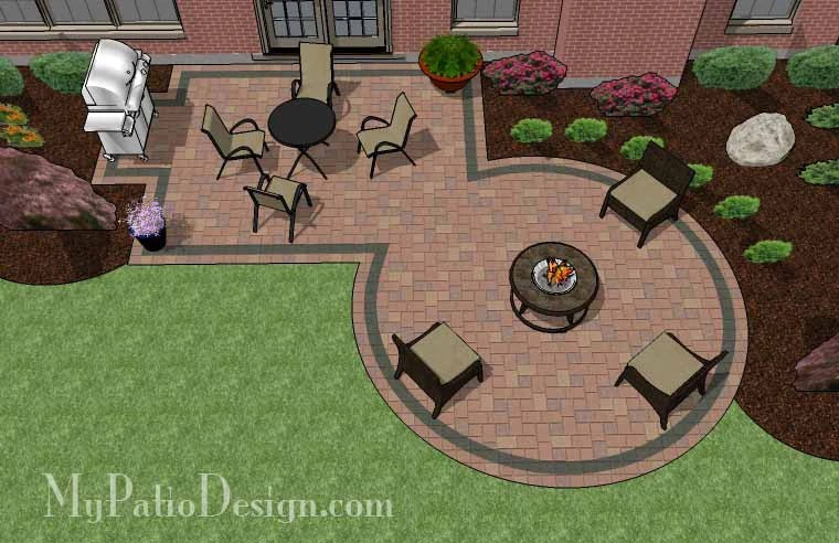 395 sq. ft. - Rectangle Patio Design with Circle Fire Pit ... on Rectangle Patio Ideas  id=29494