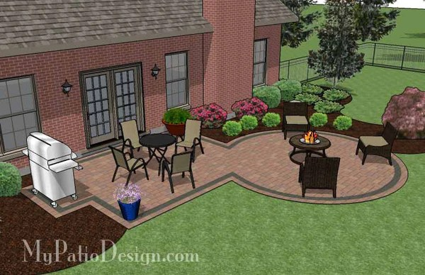 395 sq. ft. - Rectangle Patio Design with Circle Fire Pit ... on Rectangular Backyard Design  id=21342