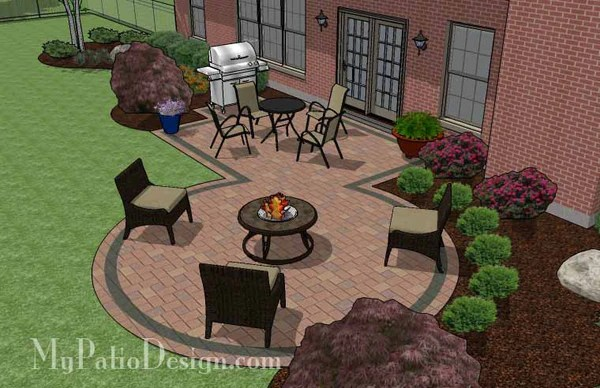 395 sq. ft. - Rectangle Patio Design with Circle Fire Pit ... on Rectangle Patio Ideas id=37556
