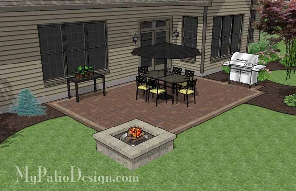 Rectangular Patio Design with Fire Pit | Downloadable Plan ... on Rectangle Patio Ideas id=37870