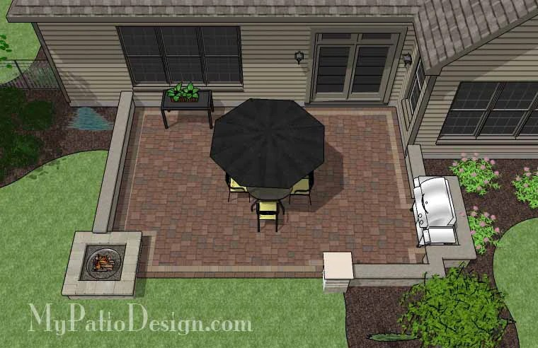 Rectangular Patio Design with Seat Walls and Fire Pit ... on Rectangular Backyard Design  id=55077