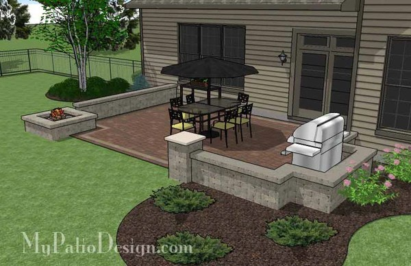 Rectangular Patio Design with Seat Walls and Fire Pit ... on Rectangle Patio Ideas id=11954