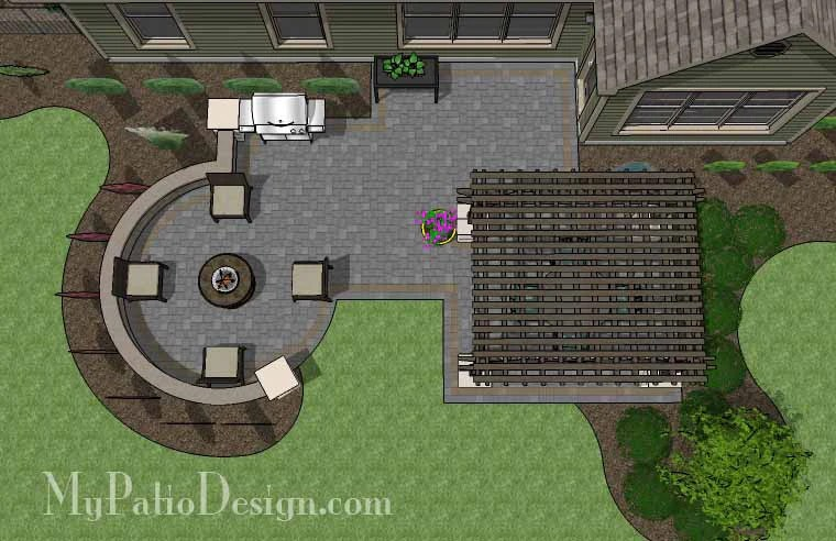 """Corner Patio Design for 6' """"L"""" Shaped Homes ... on Patio Shape Designs id=46629"""