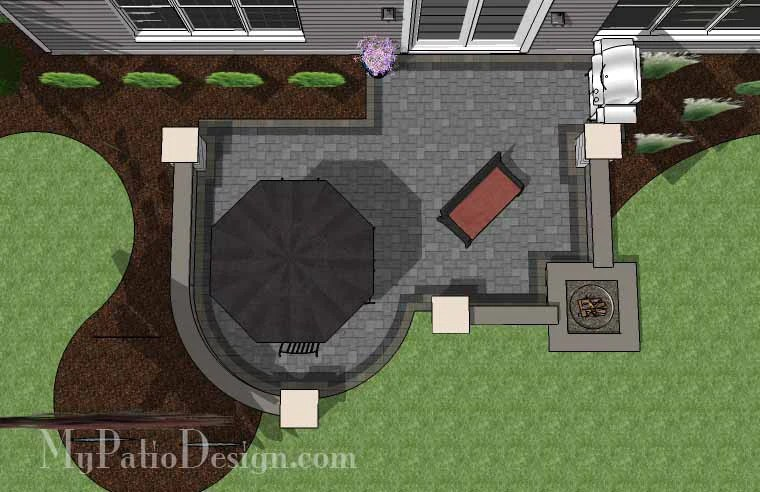 375 sq ft simple outdoor patio design with built in fire pit