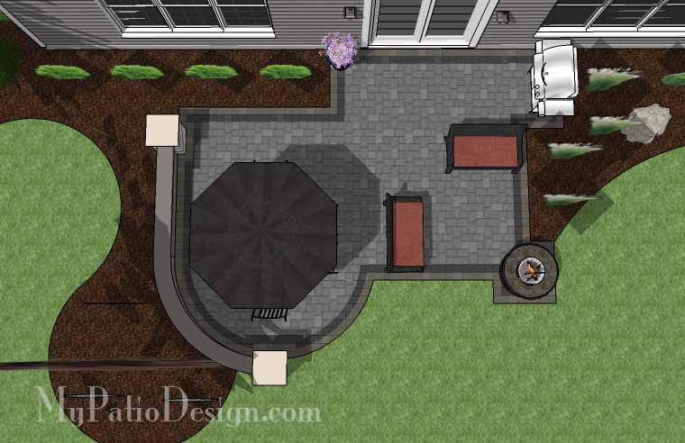 390 sq ft simple outdoor patio design with portable fire pit