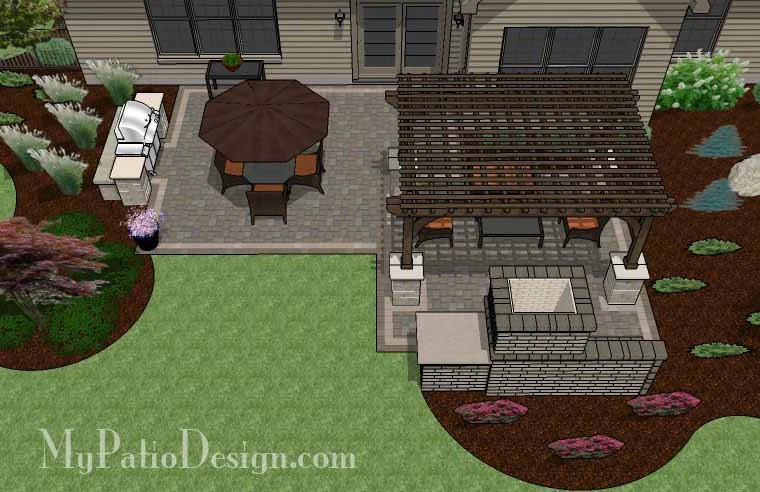 Simple Patio Design with Pergola, Fireplace and Grill ... on Patio Grill Station  id=25062