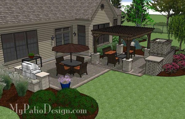Simple Patio Design with Pergola, Fireplace and Grill ... on Basic Patio Ideas id=63601