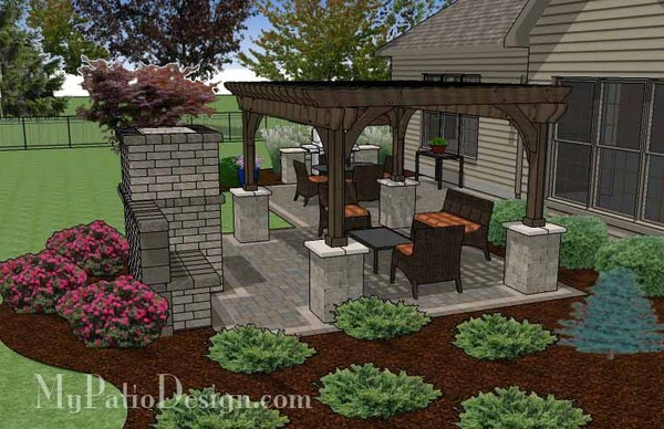 Simple Patio Design with Pergola, Fireplace and Grill ... on Patio Grill Station  id=87838