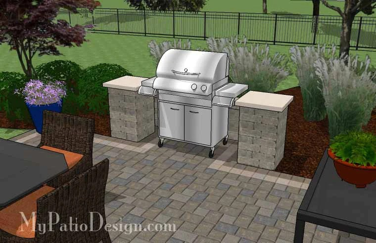 Simple Patio Design with Pergola, Fireplace and Grill ... on Patio Grill Station  id=27064