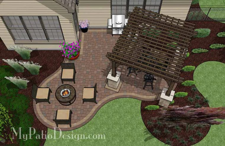 Small Outdoor Living Patio Design with Pergola | Download ... on Patio Shape Designs id=32234