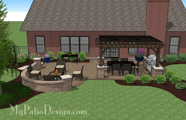 Traditional Patio Design with Seating Wall and Pergola ... on My Patio Design  id=35509