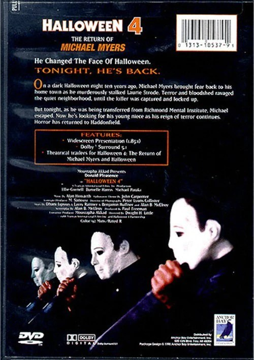 The return of michael myers (1988) region code 1 (usa) on a dark halloween night ten years ago, michael myers brought fear back to his home. Halloween 4 The Return Of Michael Myers 1988 Dvd Elvis Dvd Collector Movies Store