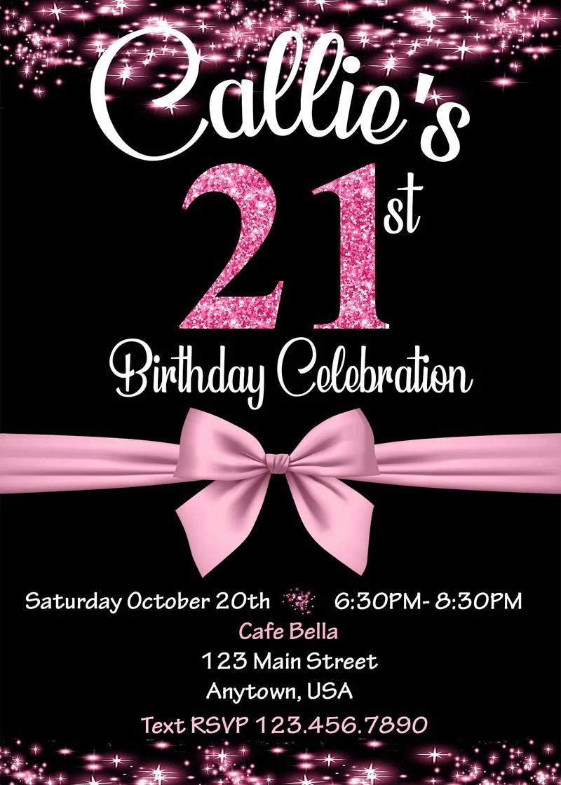 glitter birthday invitation any age 21st birthday