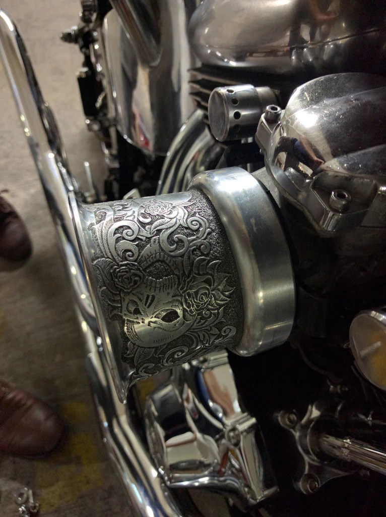 Custom Hand Engraved Velocity Stack Air Cleaner For Harley