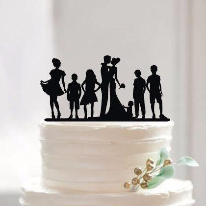 Engagement Wedding Cake Topper Family MembersChildren