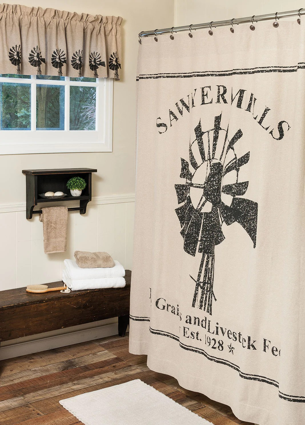 sawyer mill windmill shower curtain and valance set