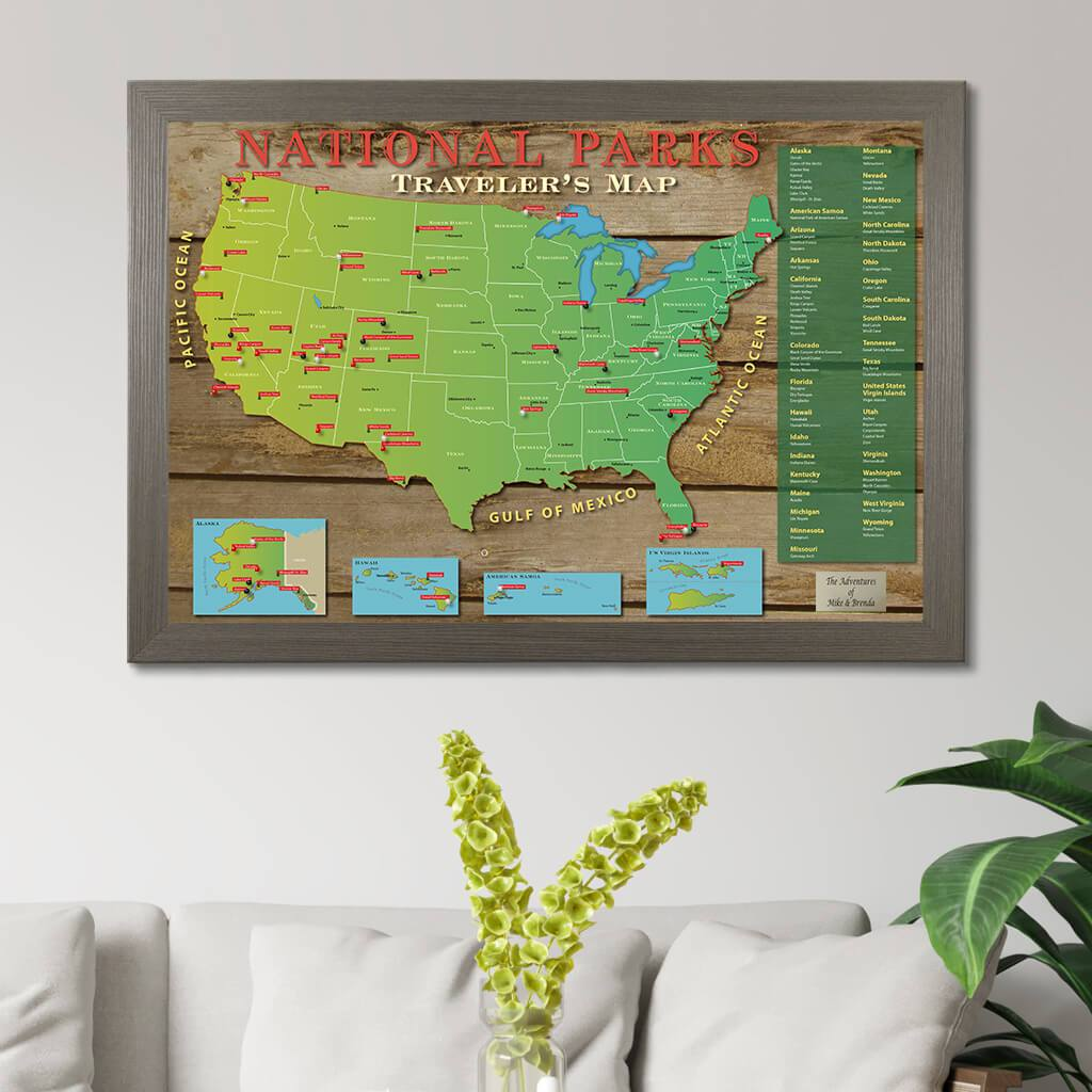 A map of america's most impressive national parks, including the grand canyon, badlands, bryce, zion and hawaii volcanoes updated 09/25/19 pacific northwest pacific northwest pacific northwest pacific northwest pacific northwest pacific nor. National Parks Push Pin Map American National Parks Map Push Pin Travel Maps