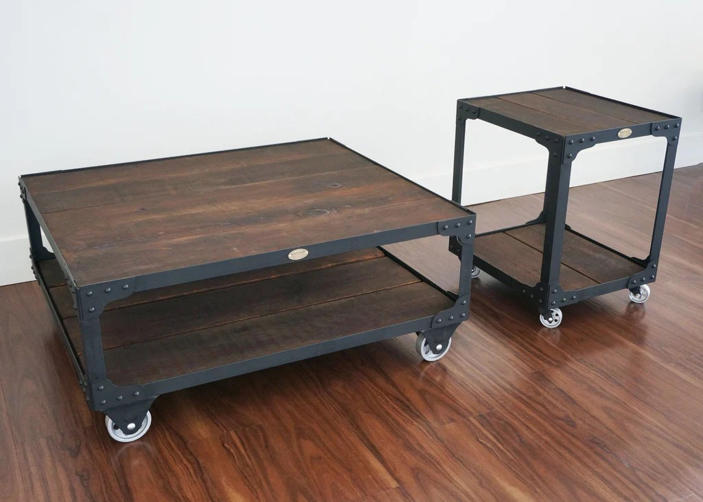 matching industrial furniture wood top coffee table and end table set