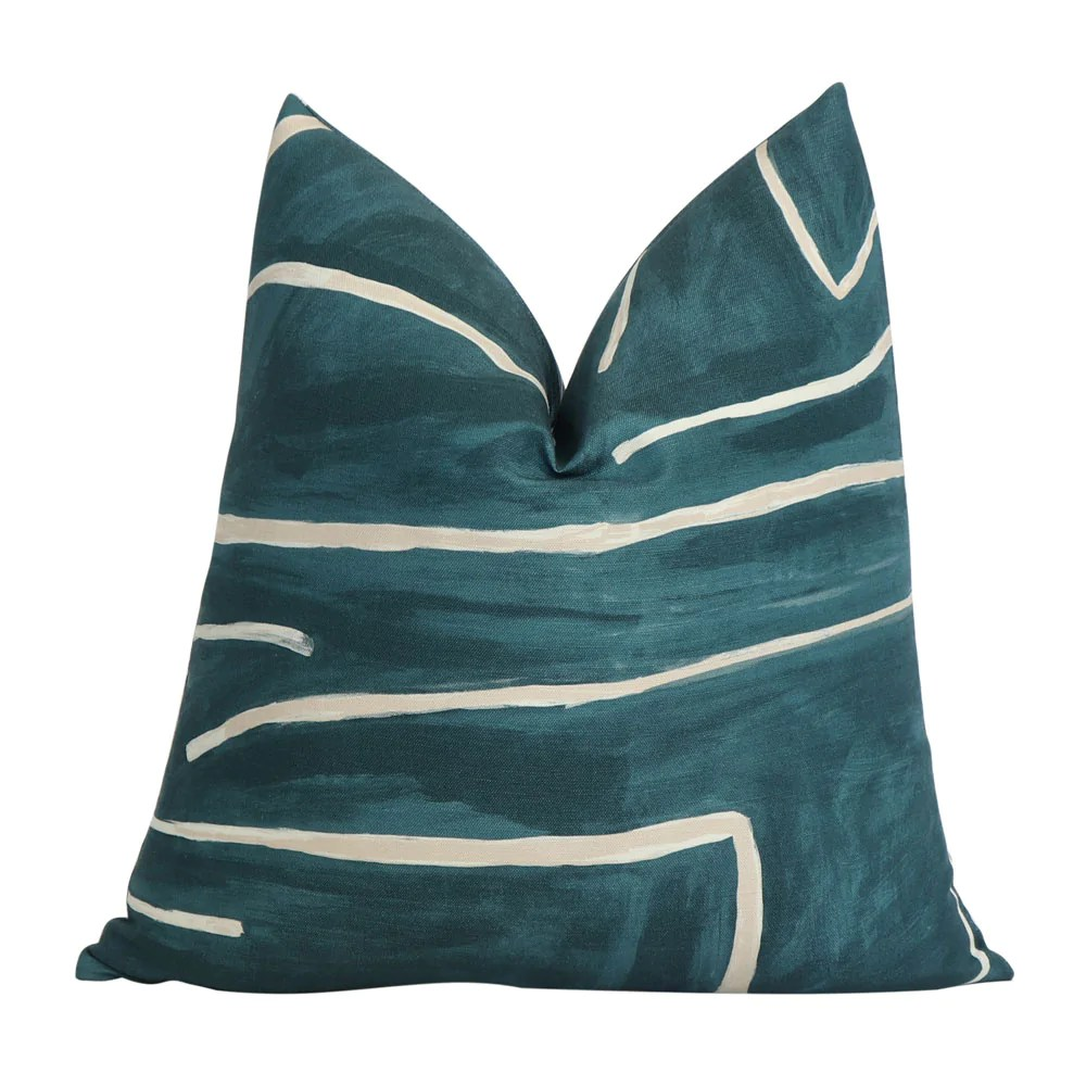 graffito teal pillow cover