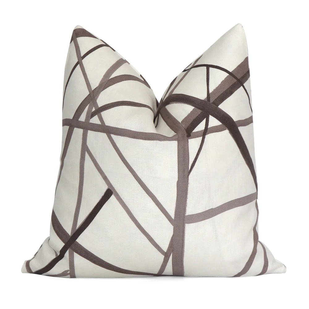 channels taupe pillow cover
