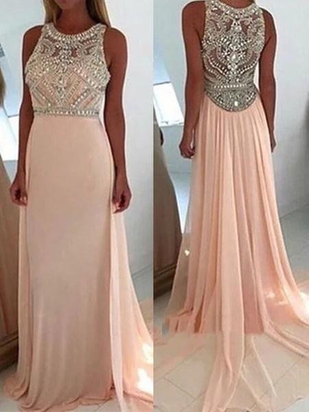 A Line Round Neck Light Pink Long Prom Dress Pink Long
