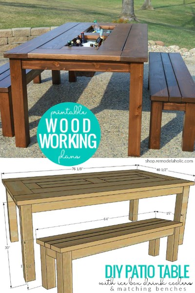 diy patio table with built in ice box drink coolers matching benches