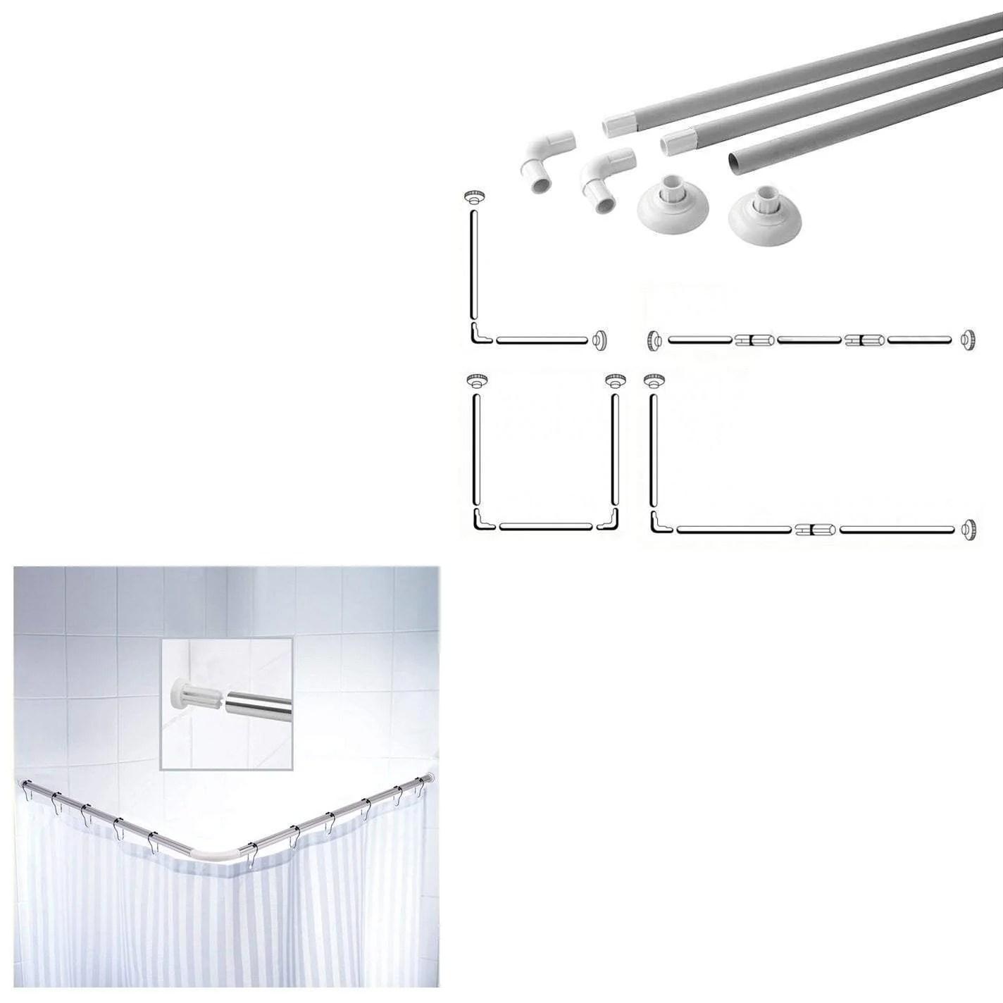 Bathroom Corner Shower Curtain Rod 80 X 80 X 80cm 0316 Parcel Rate