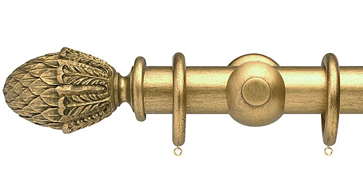 opus studio antique gold 35mm wooden curtain pole pineapple finial
