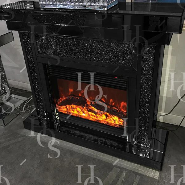 Black Mirror Crush Fireplace With Electric Fire House Of