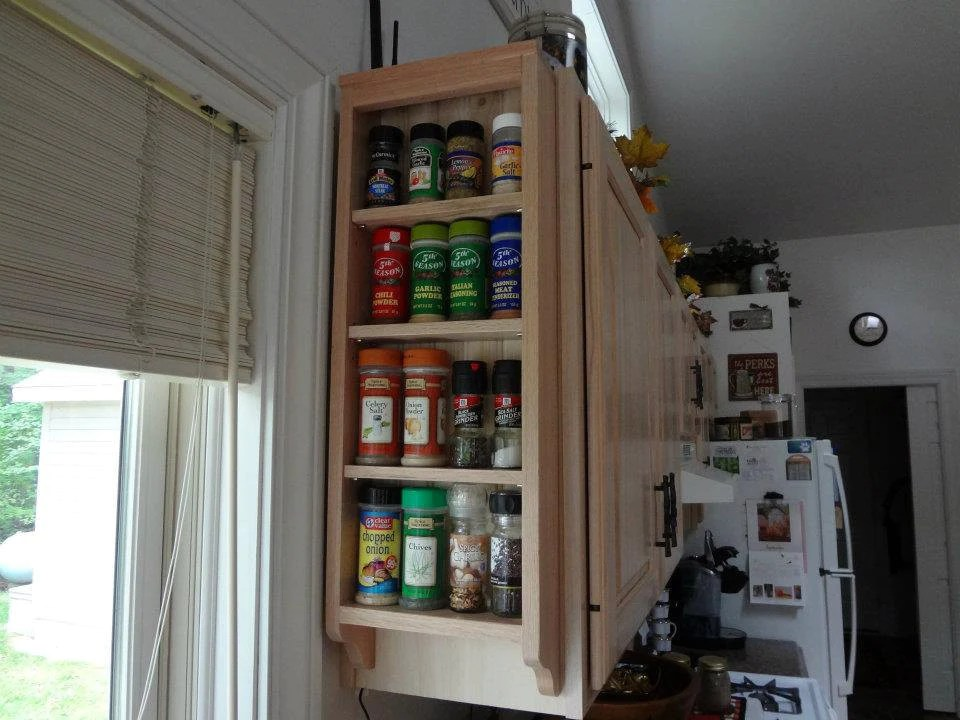 end of cabinet wood spice rack