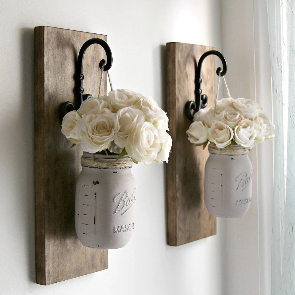 Set of 2 Rustic Wall Sconces -Hanging Mason Jars Decor ... on Hanging Wall Sconces For Flowers id=28312