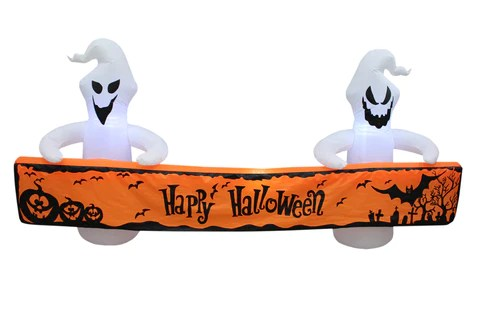 happy halloween lighted banner