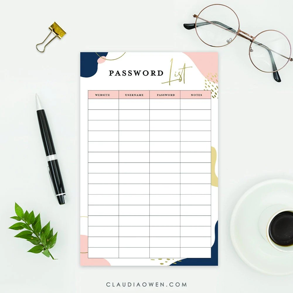 Should anyone lose their passwords, it is easier to reset their accounts. Password List Printable Template Password Keeper Log Digital Download Claudia Owen