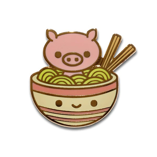 Ramen Pig Enamel Pin 100 Soft