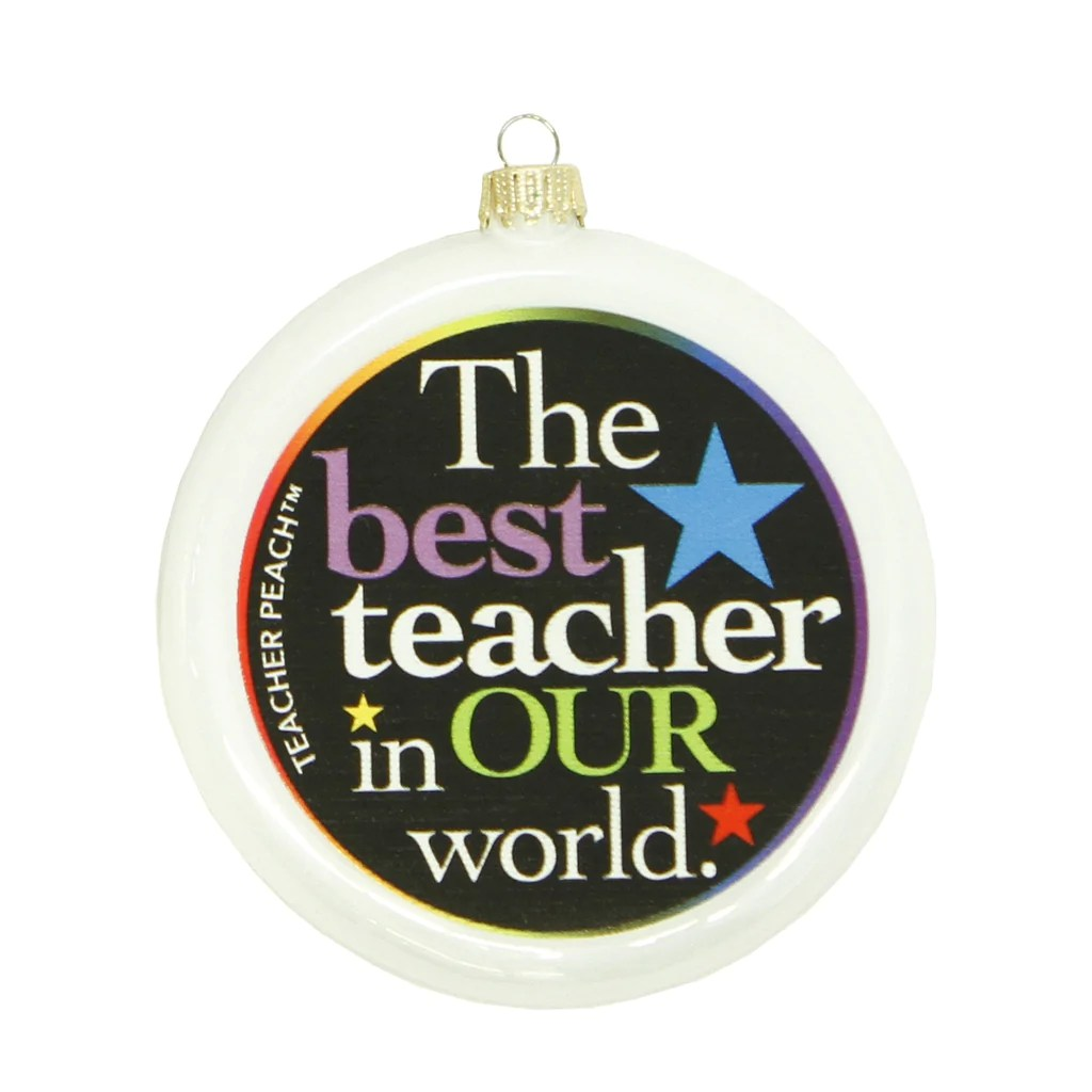 Best Teacher Glass Christmas Ornament (Assorted Colors)
