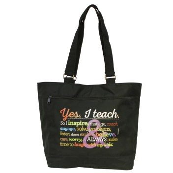 """Yes. I Teach."" Jumbo Rainbow Black Tote"