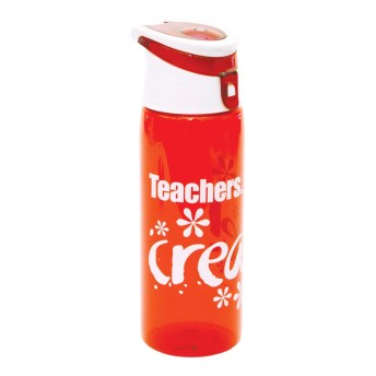 """Teachers Create!"" Flip-Top Plastic Water Bottle Red"