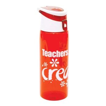 """Teachers Create!"" Flip-Top Plastic Water Bottle Red"