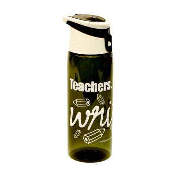 """Teachers Write."" Flip-Top Plastic Water Bottle Charcoal"