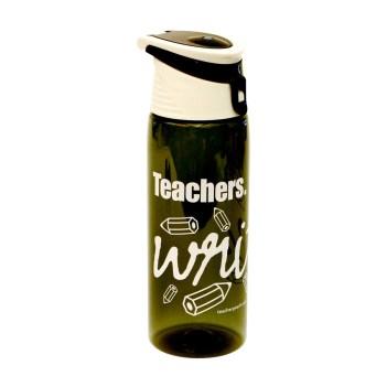 """Teachers Write."" Flip-Top Plastic Water Bottle Charcoal Peachy Halloween Teacher Gift Prize"