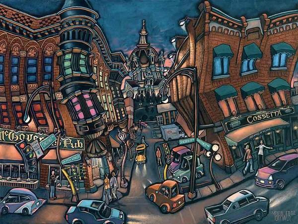 Chestnut & West 7th Original Painting - Michael Birawer