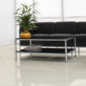 White Porcelain Floor Tiles   Beautifully Polished Harley Rectified White Polished Porcelain Floor Tiles with Black Couch and  Coffee Table