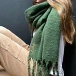 Personalised Fringed Blanket Scarf In Emerald Green The Forest Co