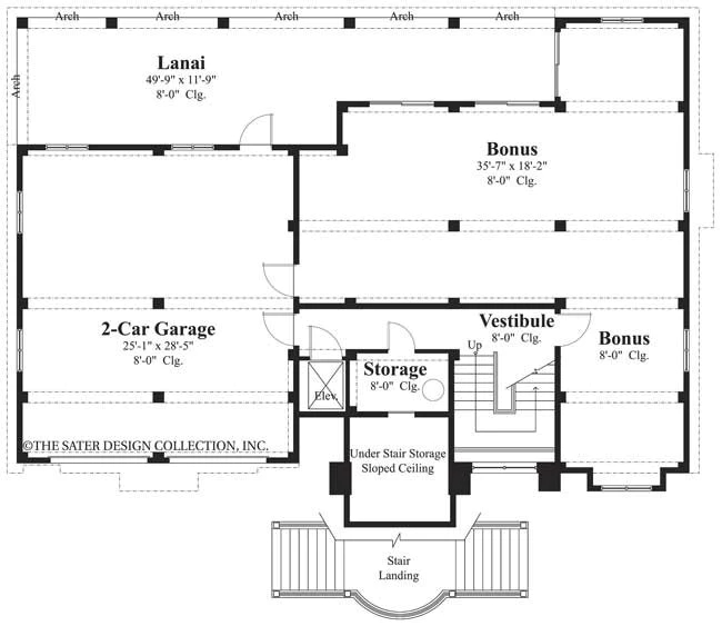 Home Plan Galleon Bay Sater Design Collection   Dual Staircase House Plans   Colonial   Design   Upstairs Master Suite House   Luxury Library 5 Bed House   Medium Size