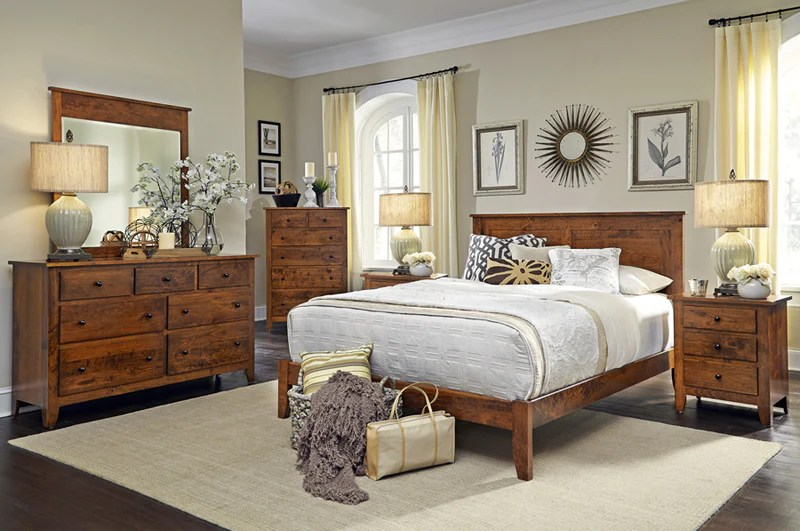 amish made shenandoah solid character cherry 6 piece bedroom suite king size
